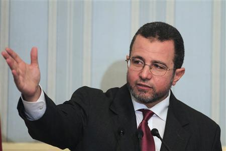 Egypt's new Prime minister, Hisham Kandil, speaks during his first news conference at his office in Cairo August 2, 2012. REUTER/Mohamed Abd El Ghany