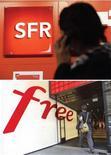 <p>Le groupe télécoms SFR, filiale de Vivendi, et Iliad, maison-mère de l'opérateur Free, discutent d'un éventuel rapprochement, selon le site internet des Echos. /Photos d'archives/REUTERS/Eric Gaillard/Gonzalo Fuentes</p>