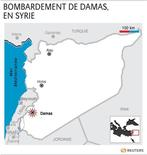 <p>BOMBARDEMENT DE DAMAS, EN SYRIE</p>