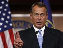 <p>Le président républicain de la Chambre des représentants John Boehner a dit mercredi avoir bon espoir d'aboutir à un accord budgétaire avec la Maison blanche et ajouté que son parti était disposé à discuter des recettes fiscales si les démocrates acceptaient une réduction des dépenses. /Photo prise le 9 novembre 2012/REUTERS/Larry Downing</p>
