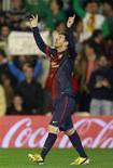 <p>L'attaquant du FC Barcelone Lionel Messi a inscrit dimanche face au Betis Séville son 86e but de l'année toutes compétitions confondues, battant ainsi le record vieux de 40 ans de l'Allemand Gerd Müller. /Photo prise le 9 décembre 2012/REUTERS/Marcelo del Pozo</p>