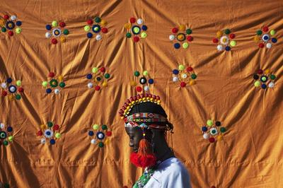 Colourful Songhai headdresses