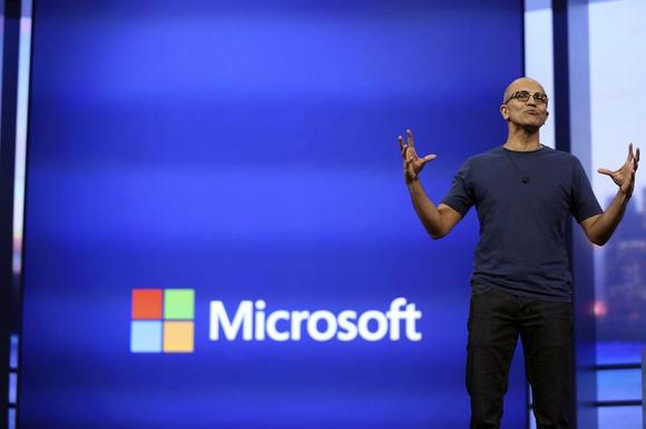 Microsoft CEO Satya Nadella gestures as he speaks during his keynote address at the company's  ''build'' conference in San Francisco, California April 2, 2014. REUTERS/Robert Galbraith