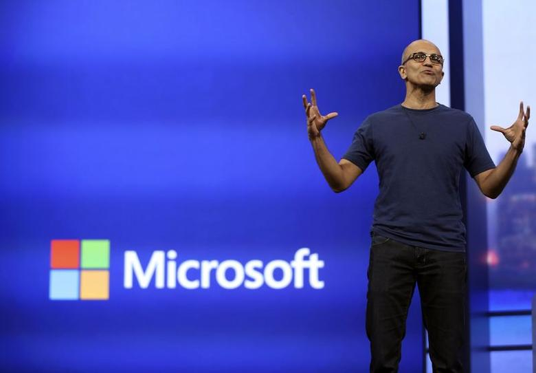 Microsoft CEO Satya Nadella gestures as he speaks during his keynote address in San Francisco, California in this file photo taken April 2, 2014.   REUTERS/Robert Galbraith/Files