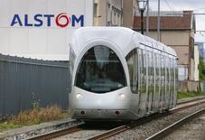 Site Alstom à Villeurbanne. Alstom discute avec General Electric en vue de céder au groupe américain l'ensemble de ses activités dans l'énergie et pourrait conclure un accord dans ce sens au cours des prochains jours, selon des sources proches du dossier. /Photo prise le 25 avril 2014/REUTERS/Robert Pratta