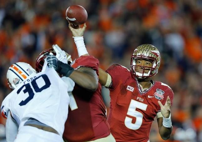 Florida State Seminoles quarterback Jameis Winston throws a pass against the Auburn Tigers in the fourth quarter during the NCAA BCS Championship football game in Pasadena, California January 6, 2014.   REUTERS/Mike Blake