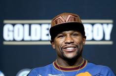 WBC welterweight champion Floyd Mayweather Jr. of the U.S. attends a news conference at the MGM Grand Hotel and Casino in Las Vegas, Nevada, April 30, 2014. REUTERS/Las Vegas Sun/Steve Marcus