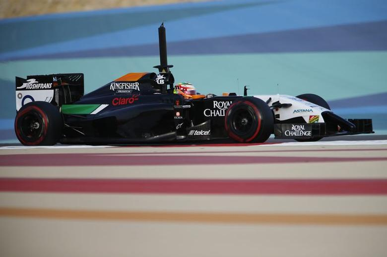 Force India Formula One driver Sergio Perez of Mexico drives during the second in-season test at Bahrain International Circuit (BIC) in Sakhir south of Manama, April 9, 2014. REUTERS/Hamad I Mohammed