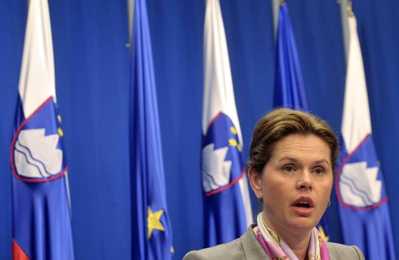 Slovenia's Prime Minister Alenka Bratusek speaks during a news conference in Ljubljana  April 29, 2014. REUTERS/Srdjan Zivulovic