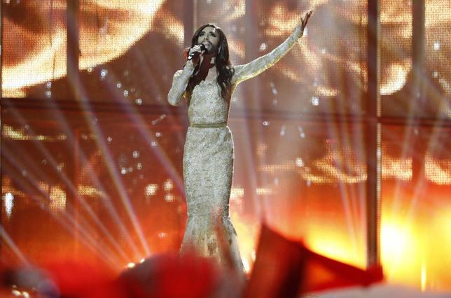 Conchita Wurst, representing Austria, performs the song ''Rise Like a Phoenix'' during the second semi-final at the 59th annual Eurovision Song Contest at the B&W Hallerne in Copenhagen, May 8, 2014.  REUTERS/Tobias Schwarz