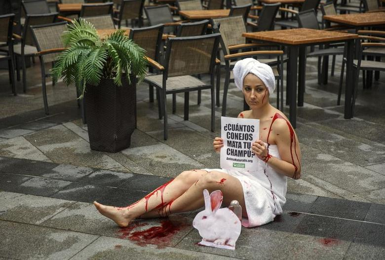 An animal rights activist covered with faked blood sits on the floor during a protest against the use of animals in research to mark the World Day for Animals in Laboratories in central Madrid April 24, 2014.  REUTERS/Andrea Comas