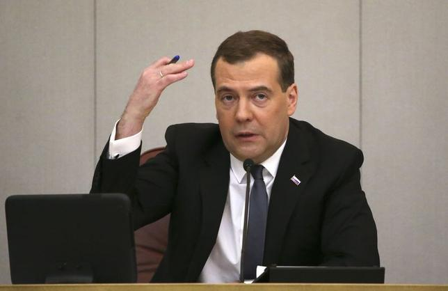 Russia's Prime Minister Dmitry Medvedev speaks as he visits the State Duma, the lower house of parliament, in Moscow April 22, 2014. REUTERS/Sergei Karpukhin/Files