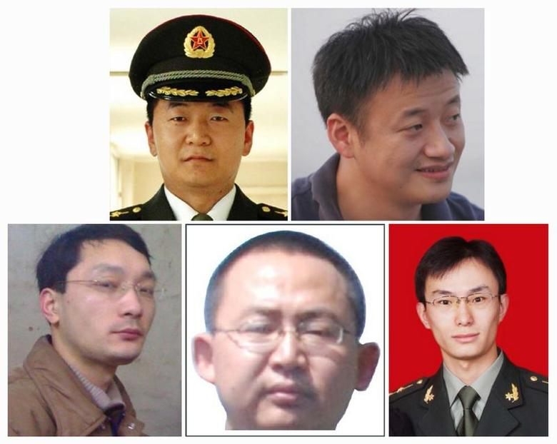 A combination photo shows five Chinese military officers who the U.S. has accused of cyber espionage. Top row: Sun Kailiang (L), Huang Zhenyu (R), bottom row L-R: Wen Xinyu, Wang Dong and Gu Chunhui in FBI released photos. REUTERS/FBI/Handout via Reuters
