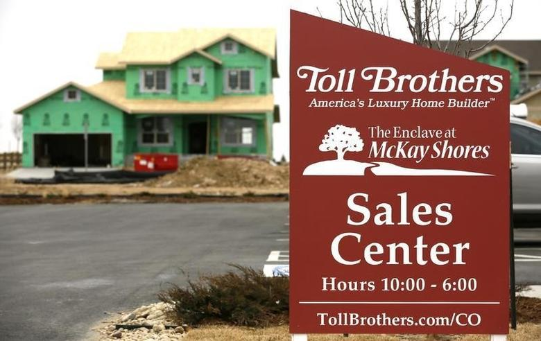 A Toll Brothers home under construction is seen in Broomfield, Colorado February 25, 2014.  REUTERS/Rick Wilking