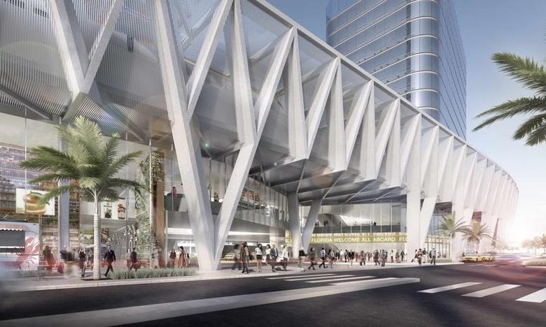 An artist's rendering of a 3-million-square-foot train station planned for downtown Miami, Florida is seen in this undated handout provided by All Aboard Florida, a wholly owned subsidiary of Florida East Coast Industries May 28, 2014. REUTERS/All Aboard Florida/Handout via Reuters