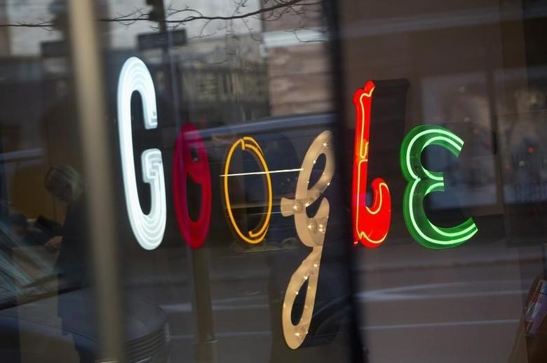 The Google signage is seen at the company's offices in New York January 8, 2013. REUTERS/Andrew Kelly/File