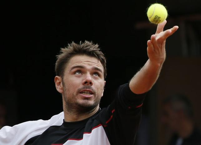 Stan Wawrinka Switzerland practises during a training session for the French Open tennis tournament at the Roland Garros stadium in Paris May 24, 2014. REUTERS/Gonzalo Fuentes
