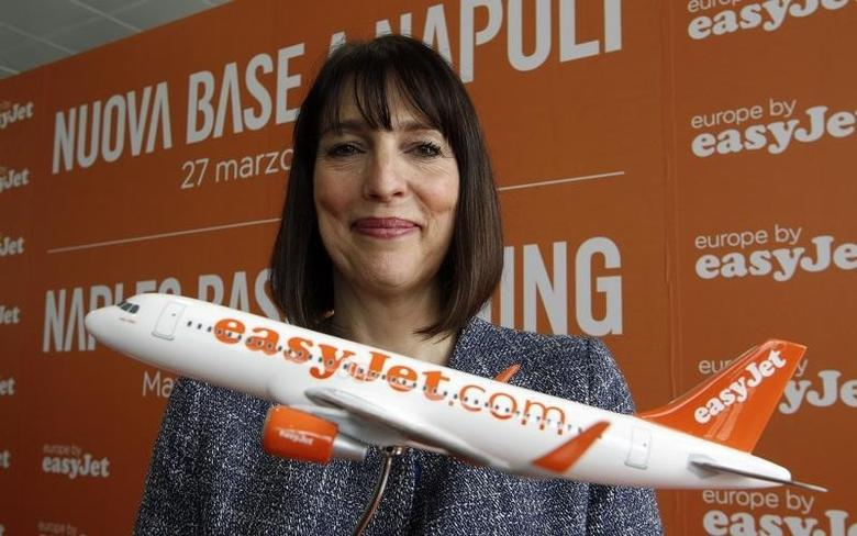 Chief Executive Officer of easyJet Carolyn McCall poses after a media conference announcing expansion plans in Italy with the opening of a new base, in Naples March 27, 2014. REUTERS/Ciro De Luca
