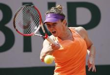 Simona Halep of Romania returns a forehand to Maria-Teresa Torro-Flor of Spain during their women's singles match at the French Open tennis tournament at the Roland Garros stadium in Paris May 31, 2014.     REUTERS/Jean-Paul Pelissier