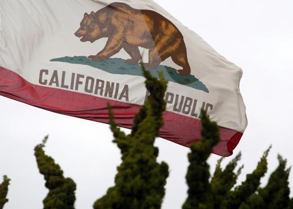 The California state flag flies above City Hall in Santa Monica, California, in this February 6, 2009 file photo.  REUTERS/Lucy Nicholson/Files
