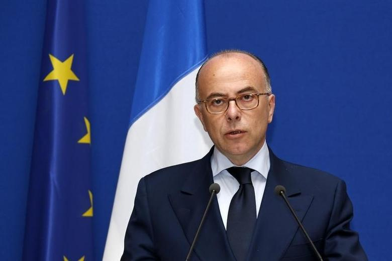 French Interior Minister Bernard Cazeneuve and his Belgian counterpart Joelle Milquet (not pictured) attend a news conference at the Interior Ministry in Paris, June 1, 2014. REUTERS/Benoit Tessier
