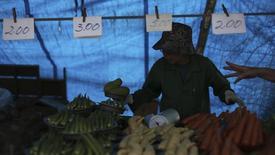 Un vendedor en la feria de Vila Madalena en Sao Paulo, Brasil, nov 9, 2013. La tasa de inflación anual de Brasil se aceleraría en mayo aunque se mantendría dentro del rango de la meta oficial del banco central y en medio de una desaceleración del crecimiento económico, mostró un sondeo de Reuters divulgado el martes. REUTERS/Nacho Doce