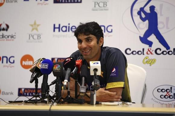 Pakistan's captain Misbah-ul-Haq speaks at a news conference at the end of their cricket test series with South Africa in Dubai October 26, 2013. REUTERS/Nikhil Monteiro/Files