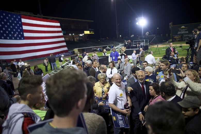 Supporters greet Democratic victor for Pennsylvania Governor Tom Wolf at his primary election night party in Santander Stadium in York, Pennsylvania, May 20, 2014.   REUTERS/Mark Makela