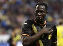 Belgium's Romelu Lukaku celebrates scoring a goal against Sweden during their international friendly soccer match in Stockholm June 1, 2014.  REUTERS/Ints Kalnins