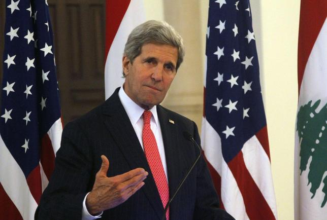 U.S. Secretary of State John Kerry gestures as he speaks during a news conference after meeting with Lebanon's Prime Minister Tammam Salam at the government palace in Beirut June 4, 2014. REUTERS/Sharif Karim