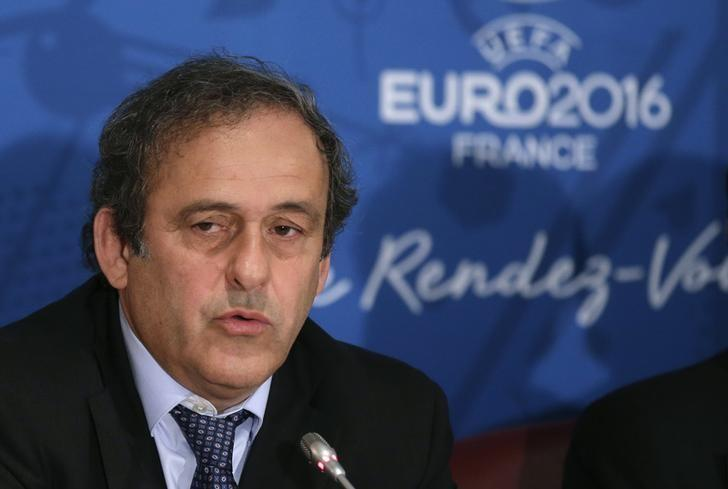 UEFA president Michel Platini attends a news conference after a meeting held in preparation of the EURO 2016 soccer tournament in Paris April 25, 2014.   REUTERS/Jacky Naegelen