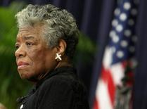 U.S. poet Maya Angelou speaks during a ceremony to honor South African Archbishop Emeritus Desmond Tutu with the J. William Fulbright Prize for International Understanding Award in Washington November 21, 2008. REUTERS/Jim Young