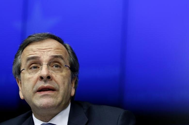 Greece's Prime Minister Antonis Samaras takes part in a news conference after a Tripartite Social Summit ahead of a European Union leaders summit in Brussels March 20, 2014. REUTERS/Yves Herman