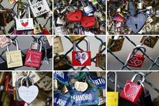 Serie de fotos de algunos de los miles de candados enganchados al Puente de las Artes, sobre el río Sena en París, 13 de febrero de 2014. REUTERS/Charles Platiau. El peatonal Puente de las Artes, que cruza sobre el río Sena en el centro de París, fue cerrado por unas pocas horas el domingo después de que colapsó una reja de metal cargada de candados que habían dejado parejas de enamorados.