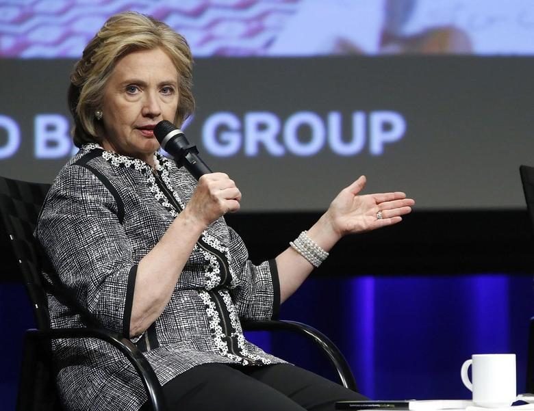 Former U.S. Secretary of State Hillary Clinton participates in an event on empowering woman and girls, at the World Bank in Washington in this May 14, 2014 file photo.   REUTERS/Jonathan Ernst/Files