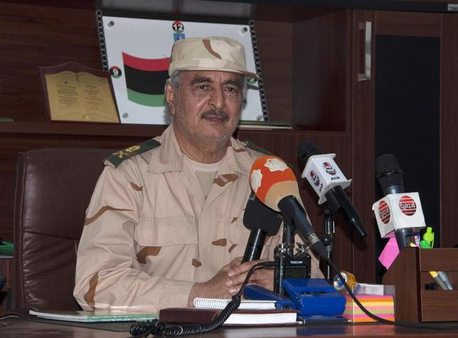 Ex-general Khalifa Haftar speaks during a news conference after surviving an assassination attempt, in Al Marj, east of Benghazi June 4, 2014. REUTERS/Stringer