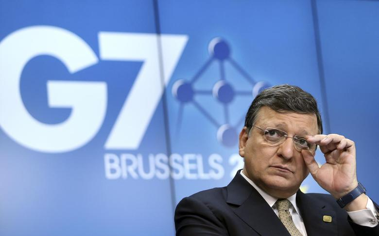 European Commission President Jose Manuel Barroso addresses a news conference ahead of a G7 summit at the European Council building in Brussels June 4, 2014.  REUTERS/Francois Lenoir