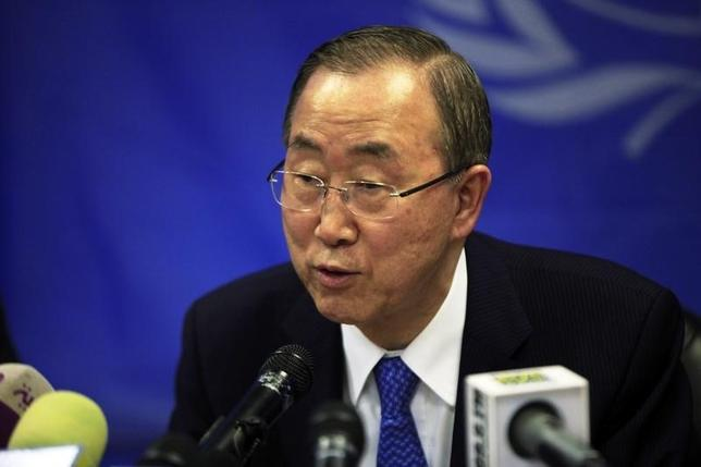 U.N. Secretary-General Ban Ki-moon speaks during a news conference at the UNMISS (United Nations Mission in South Sudan) base in Juba May 6, 2014.  REUTERS/Andreea Campeanu