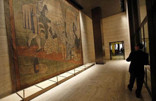 A 19-by-20-foot theater curtain ''Le Tricorne'' painted by Pablo Picasso hangs at the Four Seasons restaurant in New York City, April 1, 2014 file photo.  REUTERS/Mike Segar