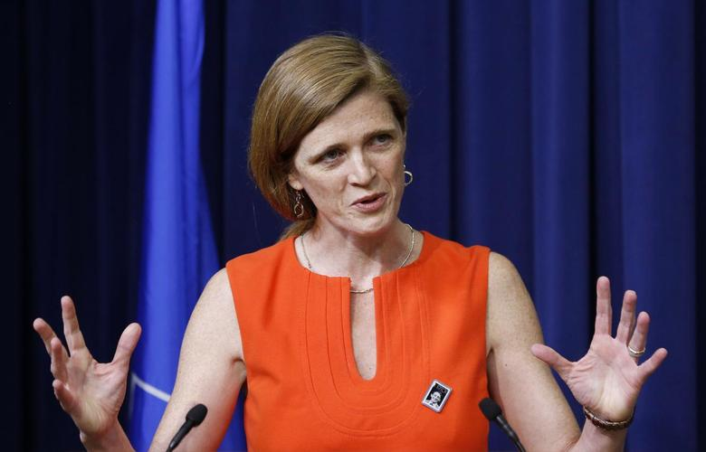 U.S. Ambassador to the UN Samantha Power speaks before she helps unveiling the Harvey Milk Forever Stamp at its dedication ceremony at the White House in Washington May 22, 2014.   REUTERS/Larry Downing
