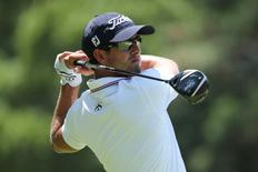 Adam Scott tees off on the second tee during the final round of the 2014 U.S. Open golf tournament at Pinehurst Resort Country Club - #2 Course. Mandatory Credit: Kevin Liles-USA TODAY Sports