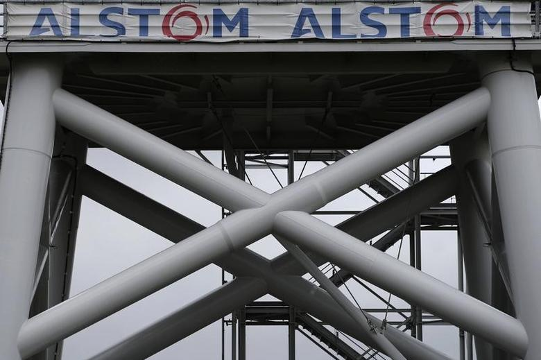 View of a Haliade 150 offshore wind turbine at Alstom's offshore wind site in Le Carnet, on the Loire Estuary, near Saint Nazaire, western France, April 27, 2014.   REUTERS/Stephane Mahe