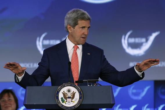 U.S. Secretary of State John Kerry delivers opening remarks at the 'Our Ocean' conference at the State Department in Washington June 16, 2014. REUTERS/Gary Cameron