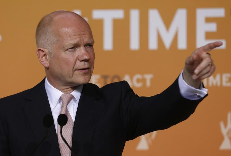 Britain's Foreign Secretary William Hague gives a news conference after a ministerial meeting on security in Northern Nigeria on the sidelines of the 'End Sexual Violence in Conflict' summit in London June 12, 2014.  REUTERS/Luke MacGregor