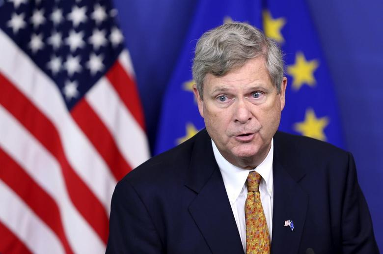 U.S. Secretary of Agriculture Tom Vilsack speaks after meeting European Union Agriculture Commissioner Dacian Ciolos (unseen) at the EU Commission headquarters in Brussels June 17, 2014. REUTERS/Francois Lenoir