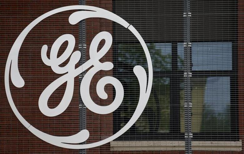 The logo of U.S. conglomerate General Electric is pictured at the company's site in Belfort, April 27, 2014. REUTERS/Vincent Kessler/Files