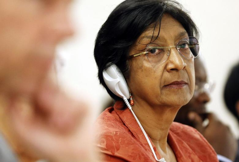 U.N. High Commissioner for Human Rights Navi Pillay looks on after her address to the 26th session of the Human Rights Council at the United Nations in Geneva June 10, 2014. REUTERS/Denis Balibouse