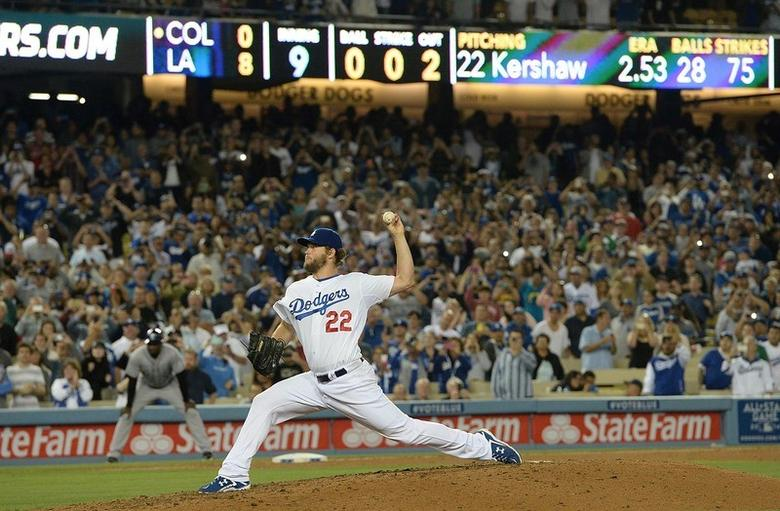 Los Angeles Dodgers starting pitcher Clayton Kershaw (22) throws in the ninth inning of the game against the Colorado Rockies at Dodger Stadium. Jayne Kamin-Oncea-USA TODAY Sports