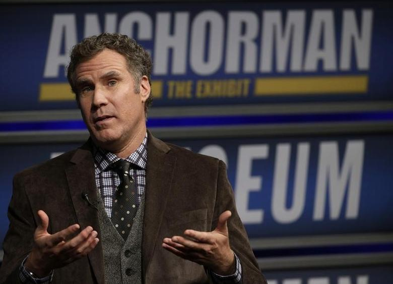 Actor Will Ferrell speaks while being interviewed by Washington Post film critic Ann Hornaday (not pictured) at the Newseum during an event for ''Anchorman2: The Legend Continues'' in Washington December 3, 2013.   REUTERS/Gary Cameron
