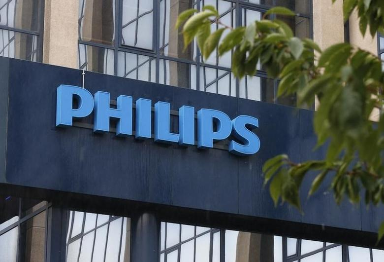 The logo of Philips is seen at the company's entrance in Brussels September 11, 2012.  REUTERS/Francois Lenoir (